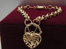 14K 9K Yellow gold GF Heart Padlock Curb Link Charm Women's bracelet 21-23cm
