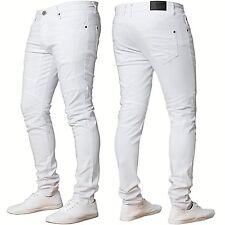 Mens ENZO Super Skinny Ripped Biker Denim Jeans Blue Black White Summer Fashion