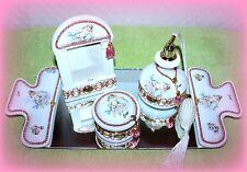 *New* Berger Italian Made 5 Pc. Cherub Vanity Set Ivory, Pink & Gold Silk Cords