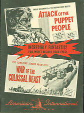 WAR OF COLOSSAL BEAST / Attack of the  PUPPET PEOPLE 1958  US Pressbook