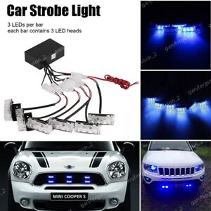 18 LEDs Blue Strobe Emer Flashing gency Police Warning Lamp Grill Recovery Light