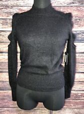 Cliche Black Wool Angora Sweater Cutout Sleeve Cold Shoulder Nwt New Mock Neck