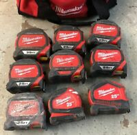 LOT OF 9 Milwaukee Magnetic Tape Measures - NOT WORKING - 25FT & 35FT