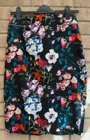 PRIMARK BLACK MULTI COLOUR FLORAL BODYCON STRAIGHT COTTON TEA SKIRT 10 S