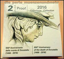 2 Euro Gedenkmünze Italien 2016 PP - 550.Todestag Donatello - im Etui ungeöffnet