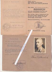 2 Ausweise Kürschner Innung Berlin Lichtenberg 1945 1947 Pelze Mützen  (D7