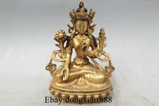 "6"" Tibet Tibetan Buddhism Bronze 24K Gold 7 eyes White Tara Goddess Buddha"