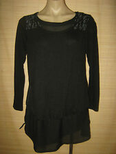 NEW Designer U First BLACK Funky Jersy L/S  top size 10