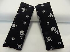 Baby Car Seat Belt Strap Covers Highchair Pram Stroller - Skull Crossbones Black