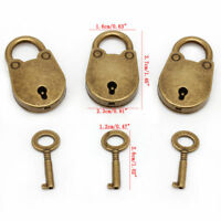 (Lot Of 3) Vintage Old Antique Style Mini Archaize Padlocks Key Lock With key