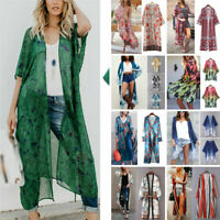 Women Boho Floral Summer Beachwear Bikini Cover Up Kimono Blouse Coat Cardigan