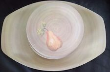 Vintage Melmac - Set of Six Pear Side Plates & One Grapes Tray / Platter