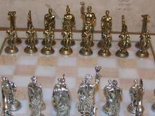 CLEARANCE Silver & Aged Brass Color Metal Ancient Roman Chess Figures