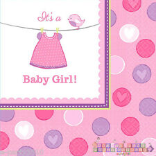 SHOWER WITH LOVE GIRL LUNCH NAPKINS (16) ~ Baby Party Supplies Dinner Large Pink