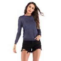 T Shirt Long Sleeve Slim Fit Tops Crew Neck Knitted Jumper Pullover Women's