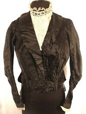 French Victorian Black Silk Satin Bodice Size 36+