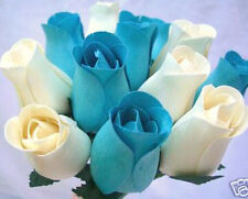 100 Cream & Turquoise Duck Egg Blue Wooden Roses Wholesale Wedding Flowers Gift