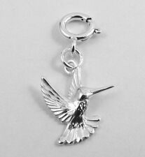 Sterling Silver HUMMINGBIRD Charm with Spring Ring-Fits Link &  Euro Bracelets