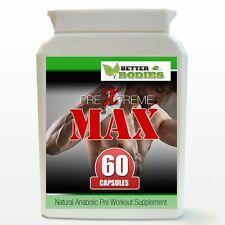 Pre Xtreme Max Anabolic Hardcore Muscolo POMPA aumento Dimensioni & Strength BOTTIGLIA 60