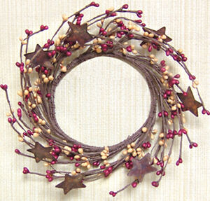 """Wreath Candle Ring 4"""" Diameter - Pip Berry in Burgundy & Gold - Rusty Tin Stars"""