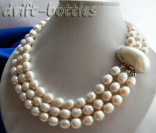 3Strands 18'' 11MM White Rice Freshwater Pearl Necklace