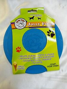 Jolly Flyer Non Toxic Rubber Dog/Puppy Frisbee 7.5 inch Blue! FREE SHIPPING!