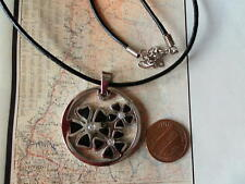 EDFORCE NECKLACE FLOWER Stainless steel and LEATHER