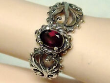 NATURAL red rhodolite garnet antique 925 sterling silver filigre ring size 10