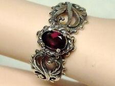 NATURAL red rhodolite garnet antique 925 sterling silver filigre ring size 9.5