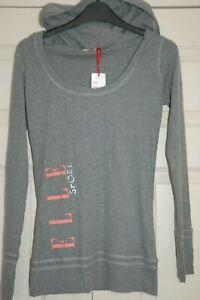 New XS 8 Elle Sports Hooded Grey Marl T-shirt Long Sleeve Scoop Neckline Logo