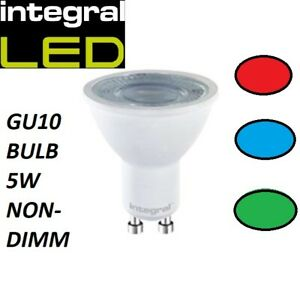 RED/BLUE/GREEN - 5W GU10 INTEGRAL NON-DIM WITH CLEAR LENS GREAT FOR ACCENT LIGHT
