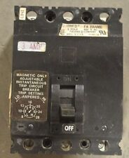 Square D Fal3600311M 3 Amp Mag Only Circuit Breaker - Black Face - Used