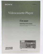 Bedienungsanleitung SonyVideocassette Player PVM-2600P pvm-2600p Instructions
