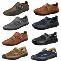 Fashion Mens Breathable Mesh Shoes Outdoor Leather Walking Soft Slip on Loafers