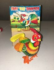 Vintage Rudy The Rooster Tin Wind Up Toy Japan With Original Box