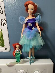 Vintage Disney Store Little Mermaid Ballerina Princess Ariel Doll  & Small Ariel