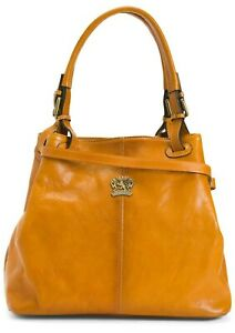 NWT PRATESI FIRENZE MADE IN ITALY LEATHER PADDED TOTE W/DOUBLE HANDLES CUOIO