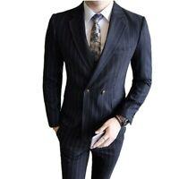 Men's Double Breasted Striped Suit 3PCS Slim Fit Business Formal Dress Wedding L