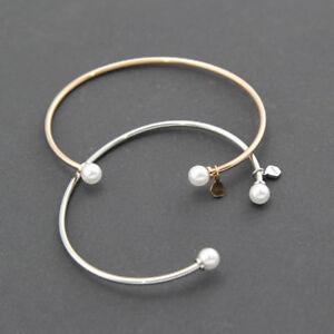Women's 18K White / Rose Gold Filled 6mm Pearl Love Charm Bangle Bracelet Gift