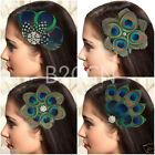 Fashion Peacock Feather Rhinestones Bridal Wedding Hair Clip Pin Head Hairpin