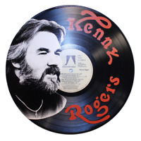 Kenny Rogers - Unique Hand-Painted Recycled Vinyl Record Art -BENEFITS CHARITY