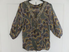 MONSOON MULTI COLOURED EMBELLISHED HIP LENGTH SHEER FABRIC BLOUSE TOP UK M 12 14