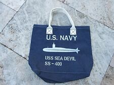 USN USS Sea Devil Denim Bag US Navy Army U-Boot SS-400 Marines Lutece Mfg Co