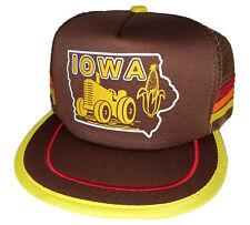 Iowa Corn Tractor Farm Farmer  Brown 3 Striped  Snapback Mesh Trucker Hat Cap