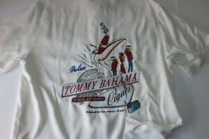 Tommy Bahama Camp Shirt Pelican Cigars Embroidered Panelback Silk White Medium M