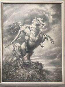 """""""Warrior Goddess"""" By Vincent Nesbert ORIGINAL Drawing Pennsylvania Artist A-1"""