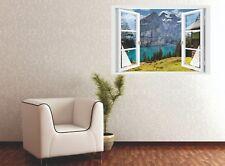 Wandtattoo Fenster 3D Optik Wandsticker Aufkleber Deko Bild Urlaub in den Bergen