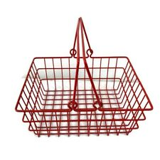 Wire Metal/plastic red Egg Basket Handle Home kitchen decor organizer 9.5x7.5