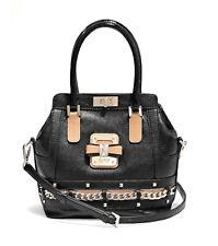 Guess Ellese Small Turnlock Satchel Black, Women's Handbag Strap Bag
