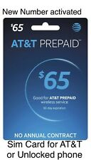 New Number Activated At&T Prepaid Sim Card preloaded with $65 Unlimited Data